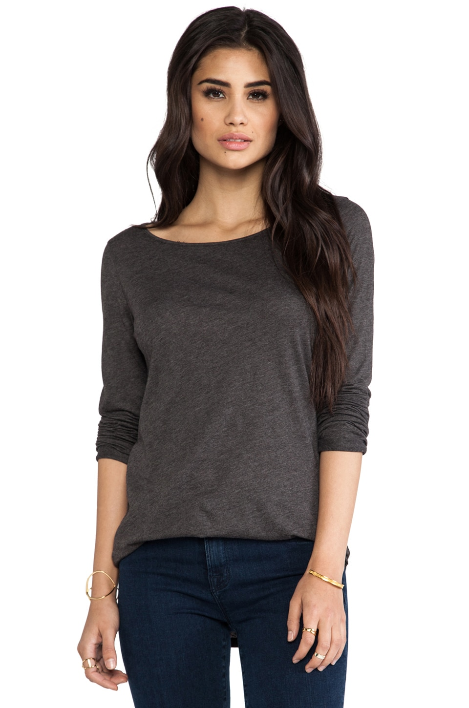 LA Made Luxury Jersey Lazy Long Sleeve Tee in Anthracite