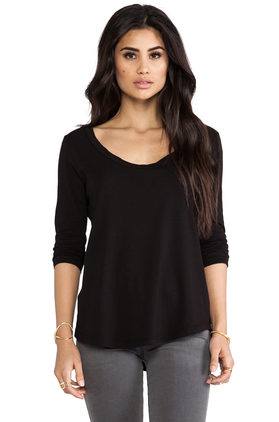 LA Made Luxury Jersey 3/4 Sleeve Prime Tee in Black
