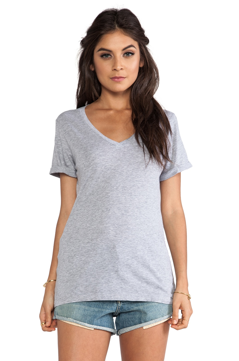 LA Made Roll Sleeve Staple Tee in Heather Grey