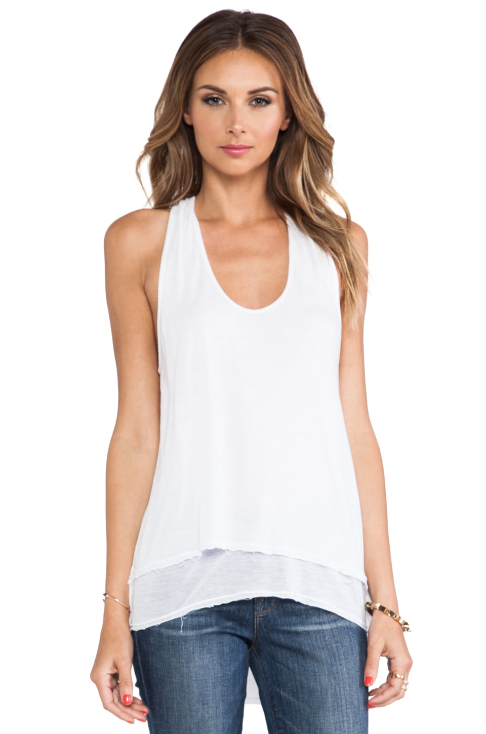 LA Made Racerback High-Low Double Layer Tank in White