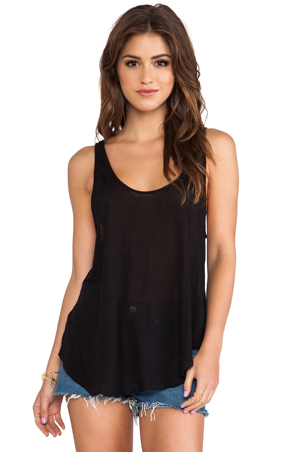 LA Made Plunge Low Tank in Black