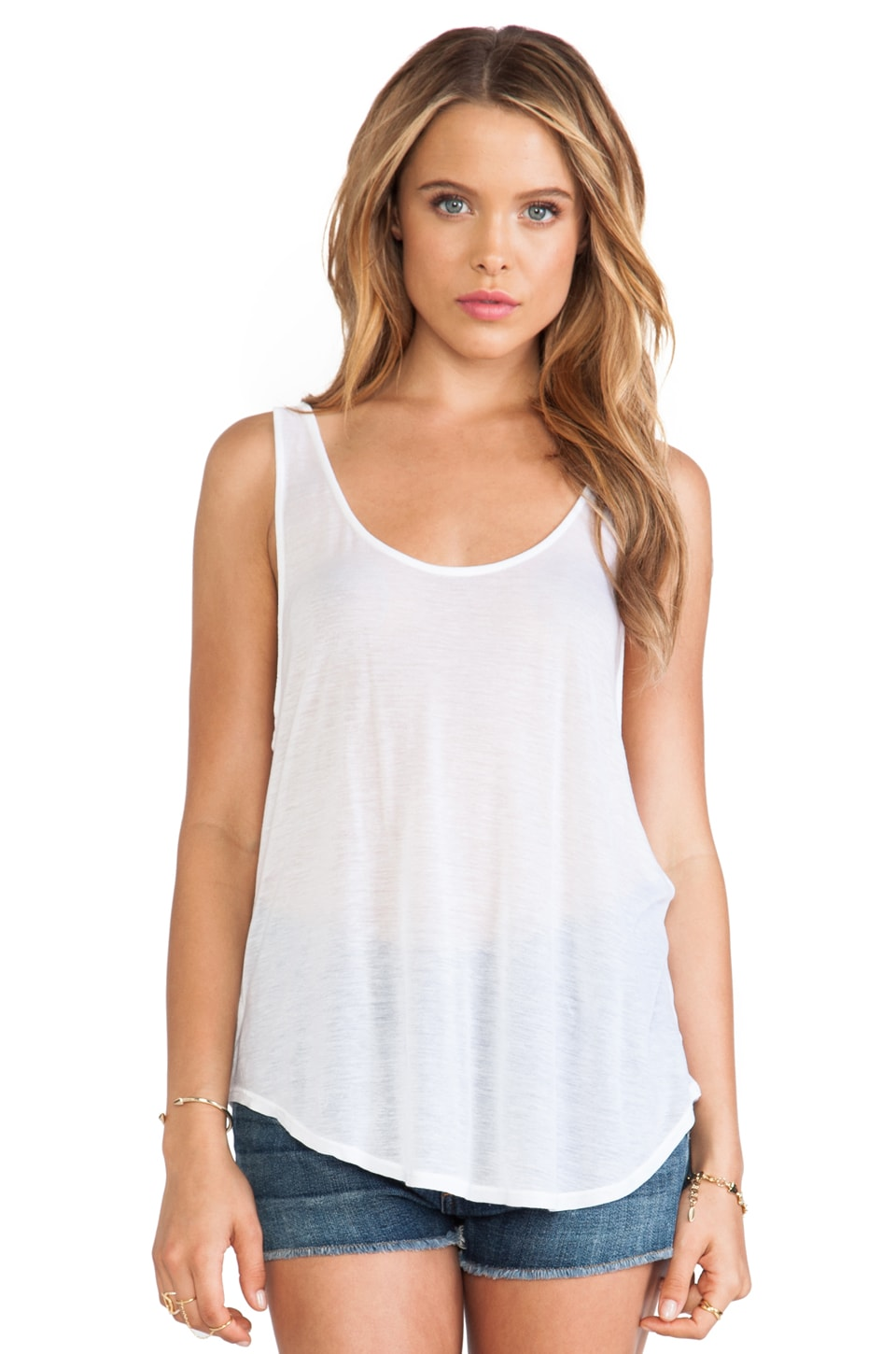 LA Made Plunge Low Tank in White