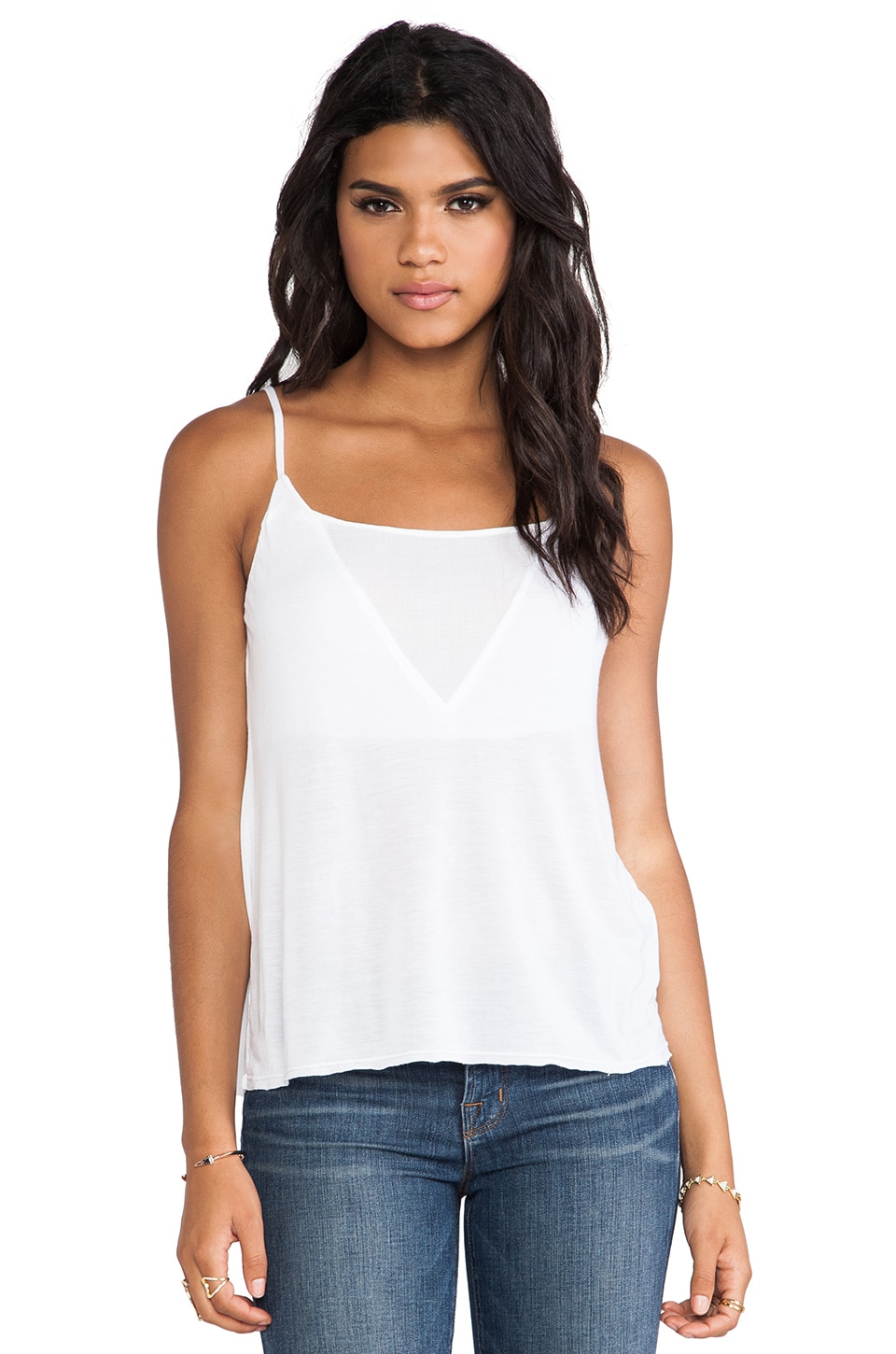 LA Made Triangle Cami Tank in White