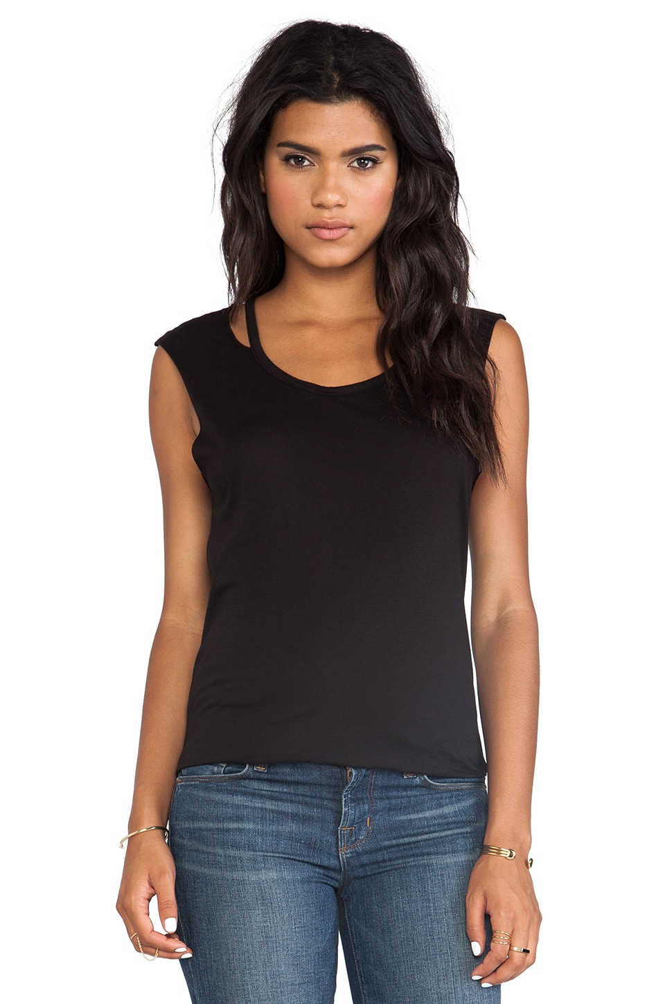 LA Made Slit Neck Tee in Black