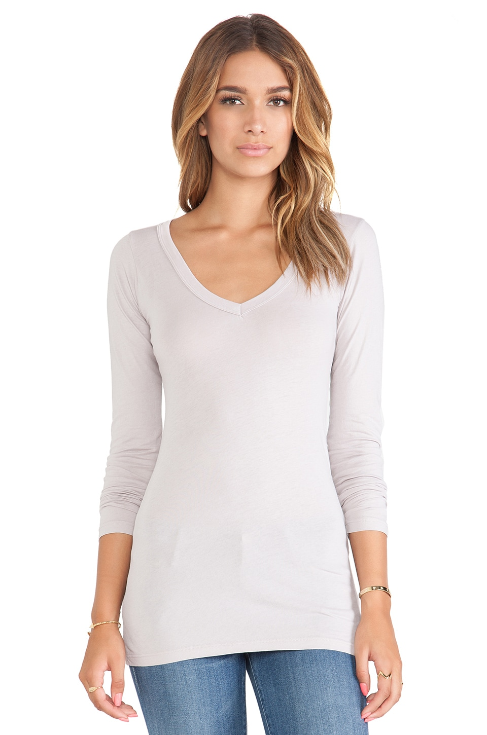 LA Made Tissue Jersey Long V Tee in Lark