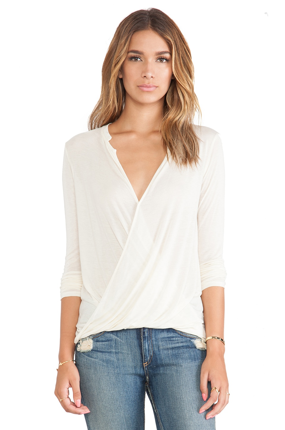 LA Made Cross Over Draped Top in Cream