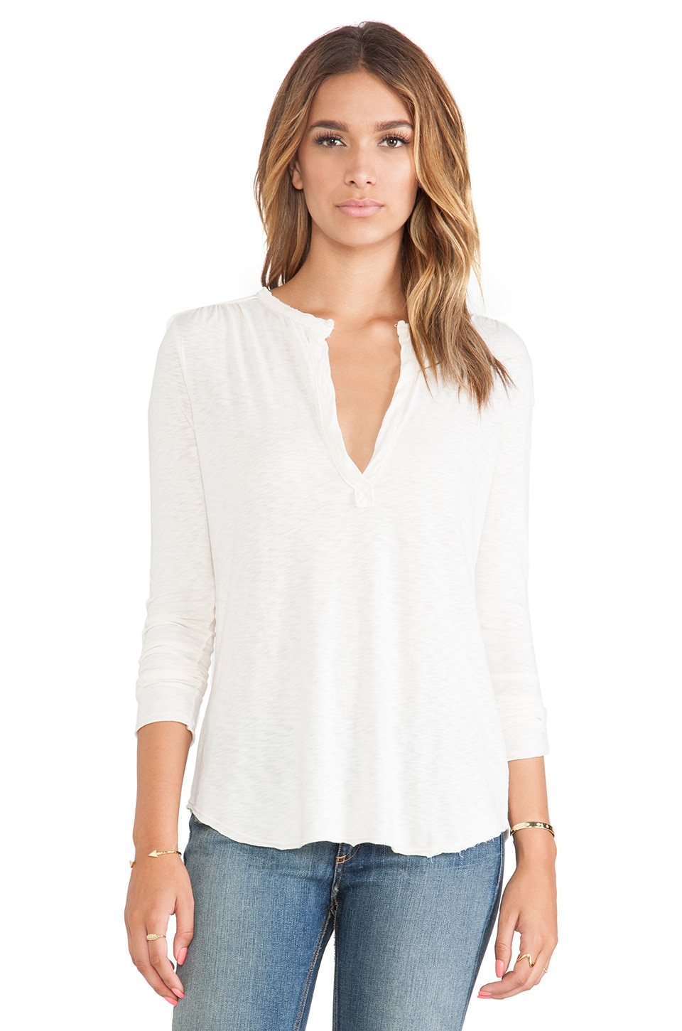LA Made Long Sleeve Blouse in Cream