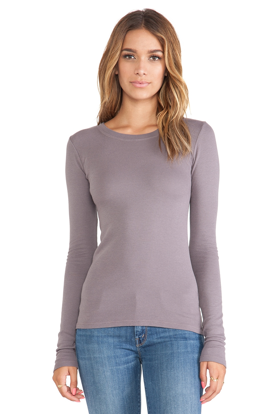LA Made Long Sleeve Crew Neck Top in Lunar Grey