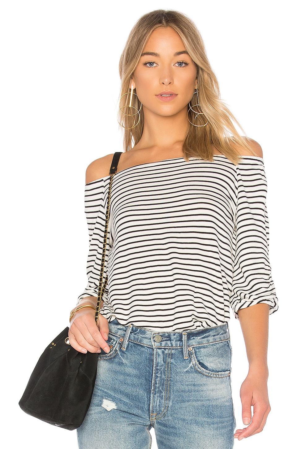 LA Made Aria Top in Black & White Stripe