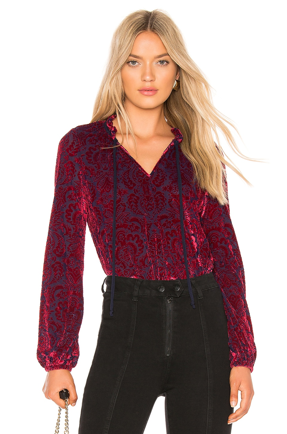 LA Made Stevie Velvet Blouse in Red & Midnight