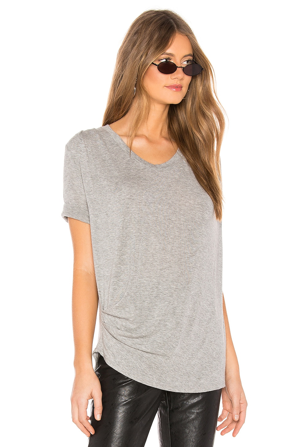 LA Made Marigot Draped Tee in Heather Grey