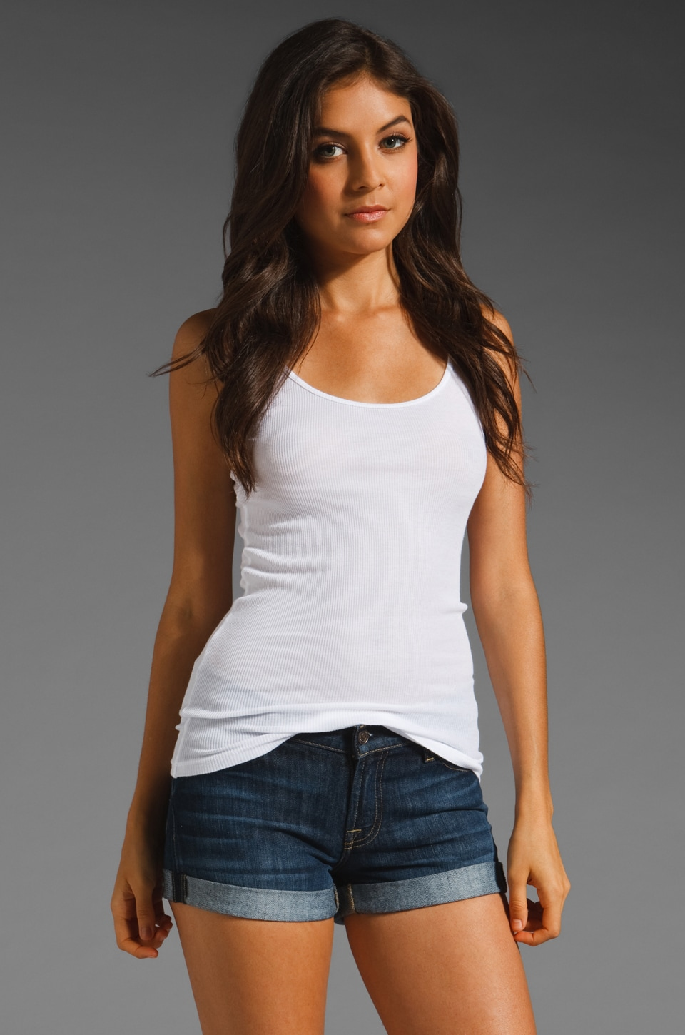 LA Made 2x1 Ribbed Modal Cotton Tank in White
