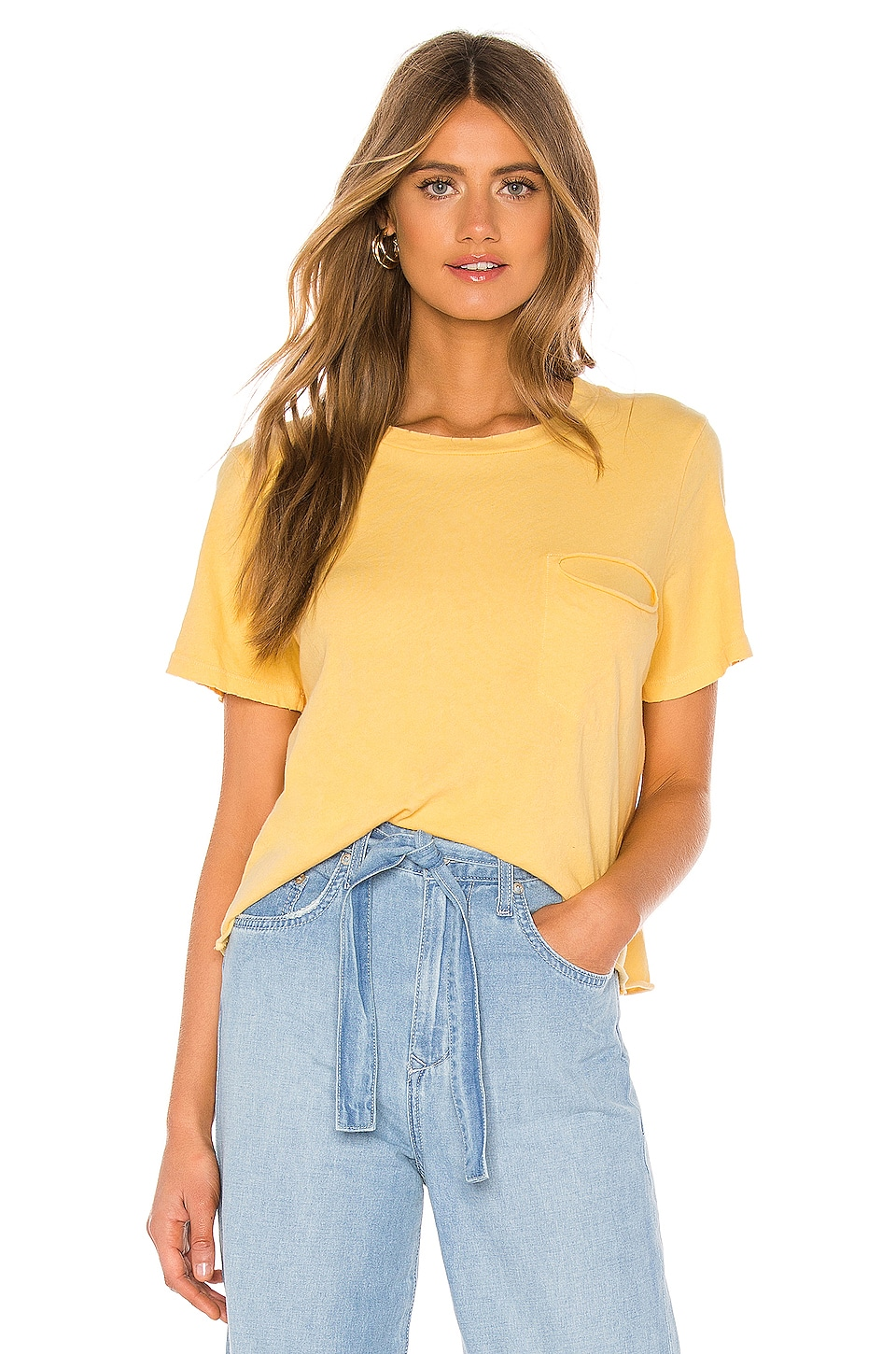 LA Made Cydney Distressed Pocket Tee in Mellow Yellow