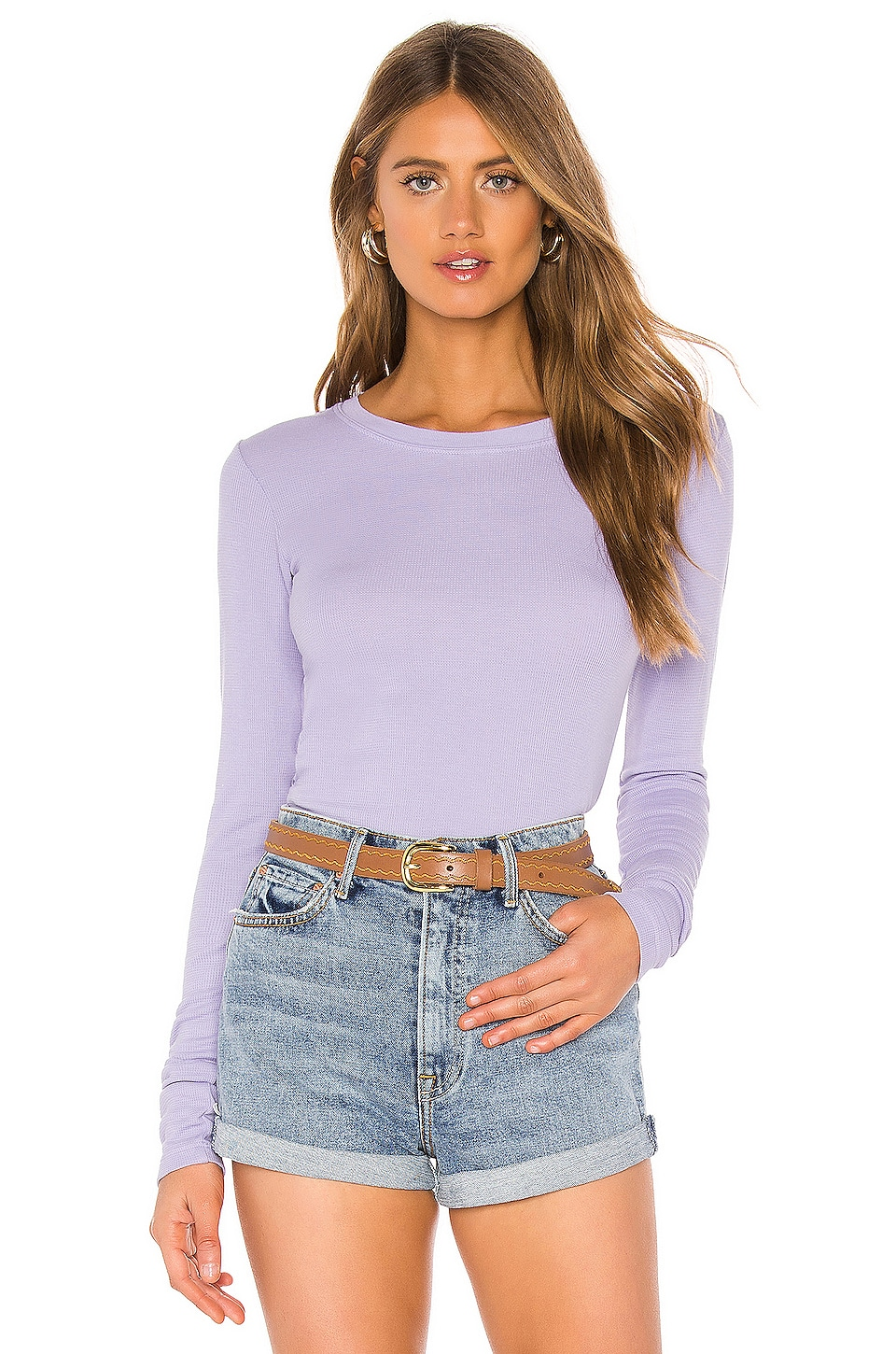 LA Made Long Sleeve Crew Thermal in Heirloom Lilac