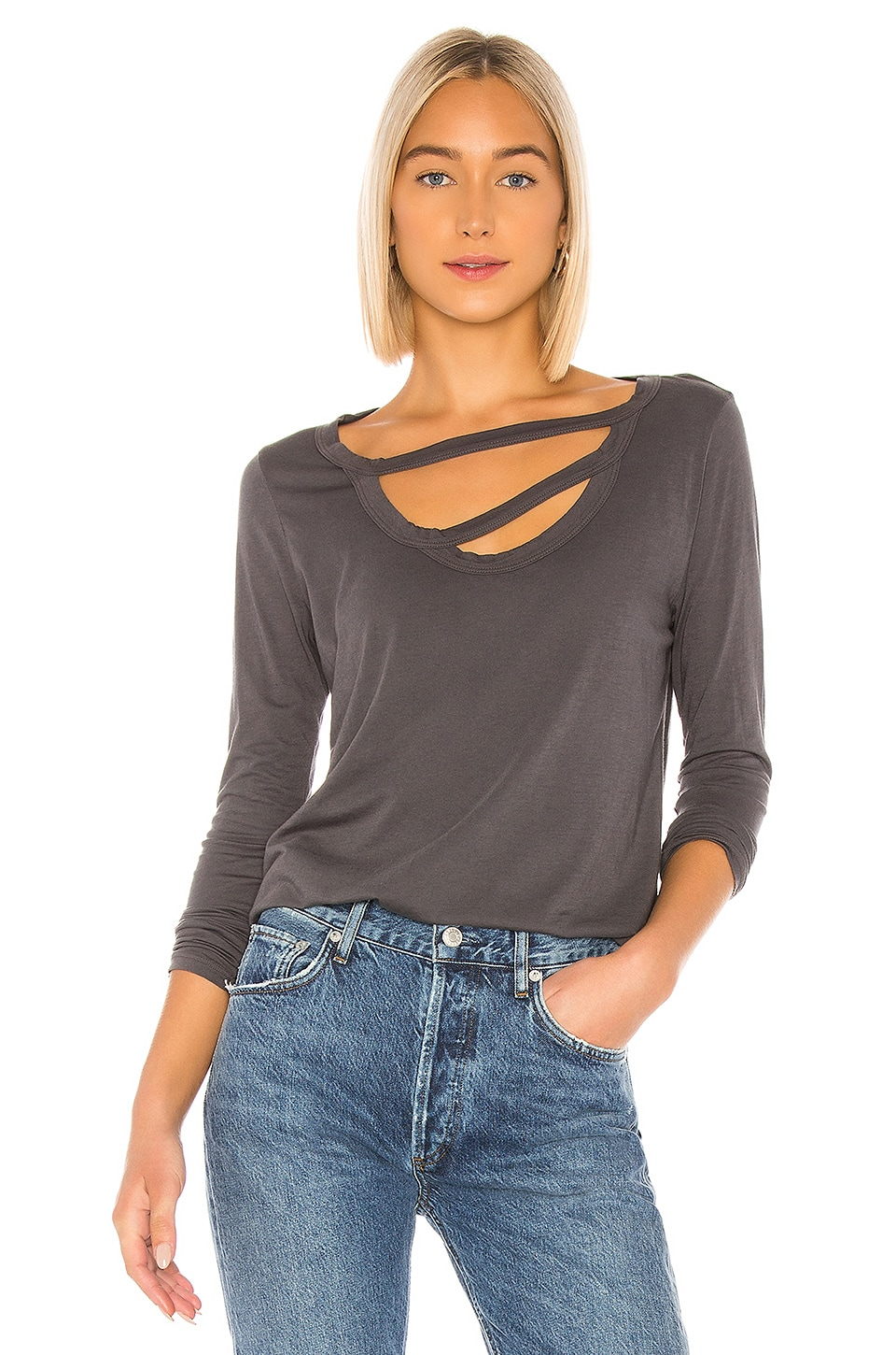 LA Made Nonna Long Sleeve Tee in Raven