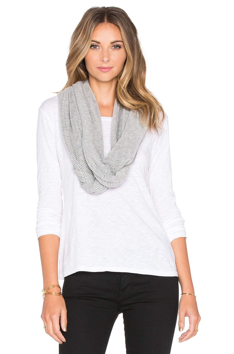 LA Made Two Tone Waffle Cashmere Blend Infinity Scarf in Egret & Grey