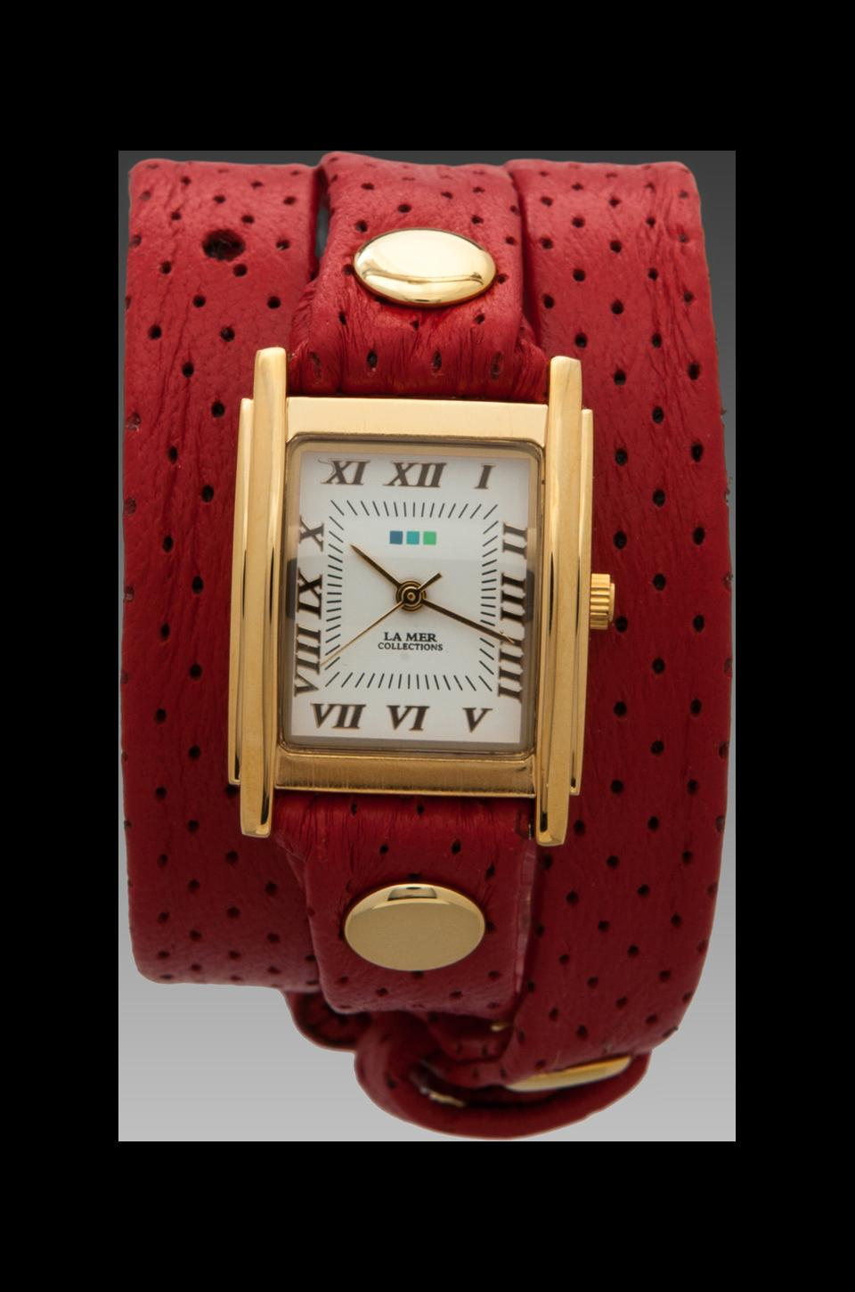 La Mer Perforated Wrap in Red/Gold