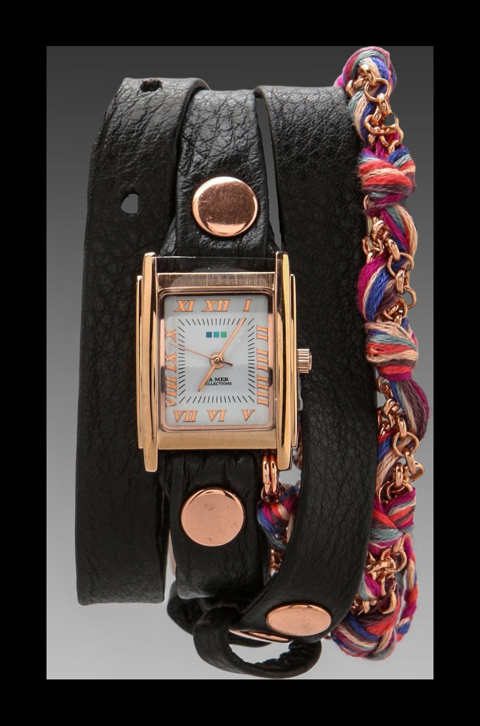 La Mer EXCLUSIVE Fuchsia Friendship Bracelet Watch in Black/Rosegold