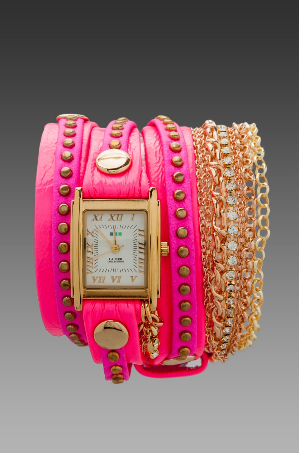 La Mer EXCLUSIVE Square Chain Wrap in Neon Pink Bali/Gold
