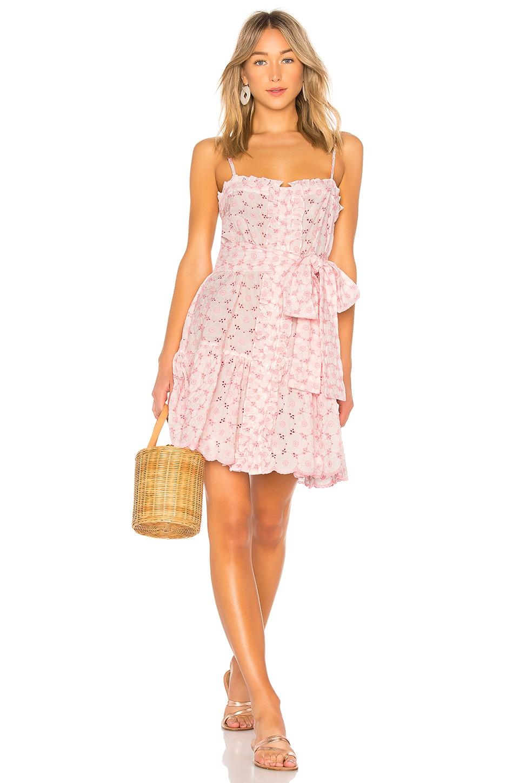 LISA MARIE FERNANDEZ Poppy Eyelet Mini Dress in Pink