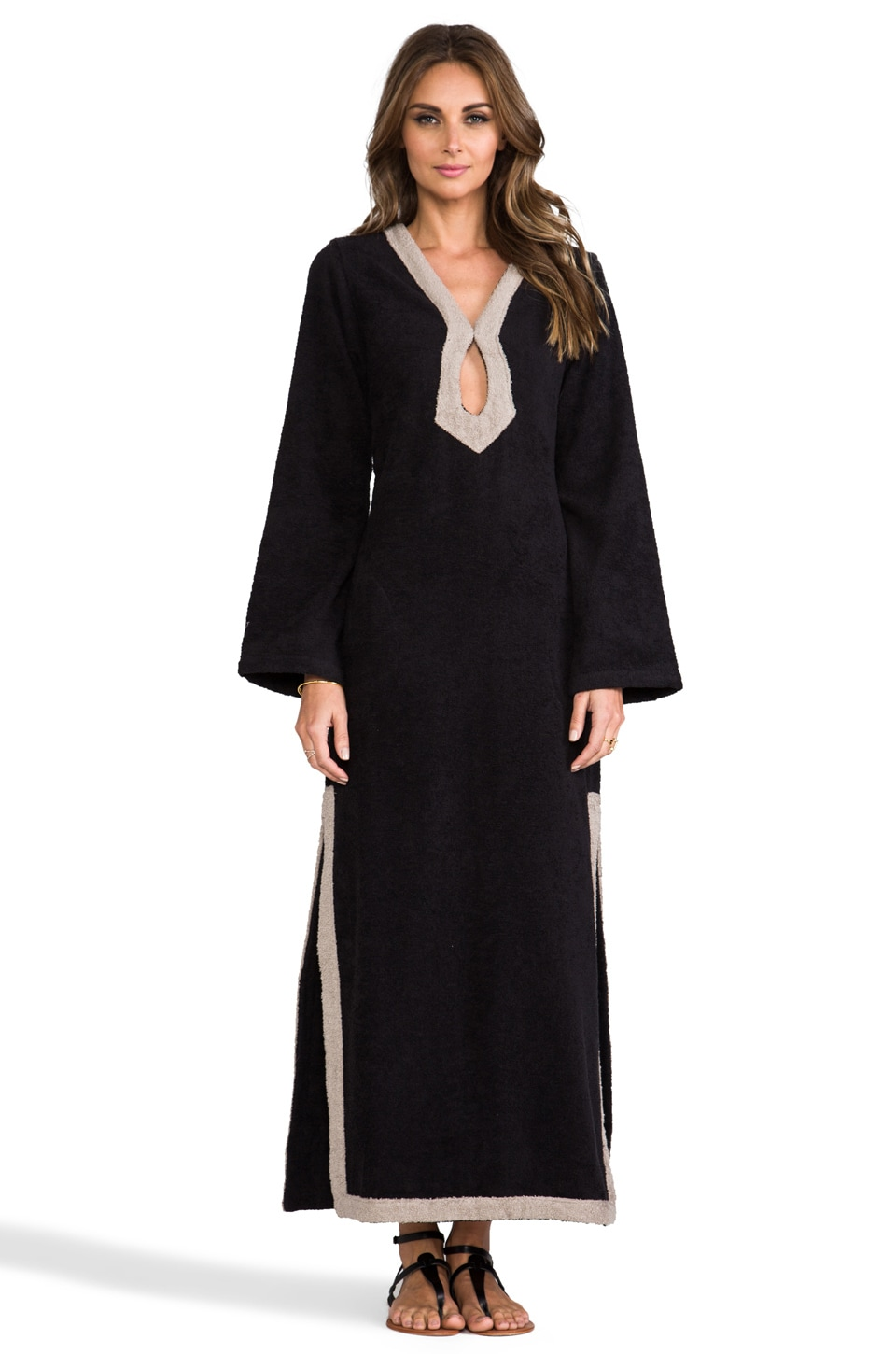 Lisa Marie Fernandez Long Keyhole Tunic in Black Terry/Taupe Trim