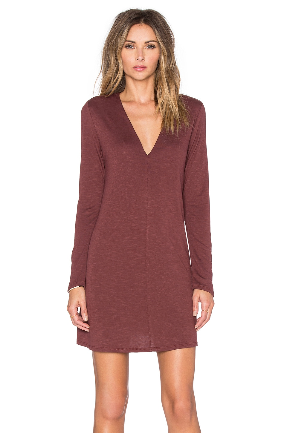Lanston Long Sleeve Flare Dress in Brick