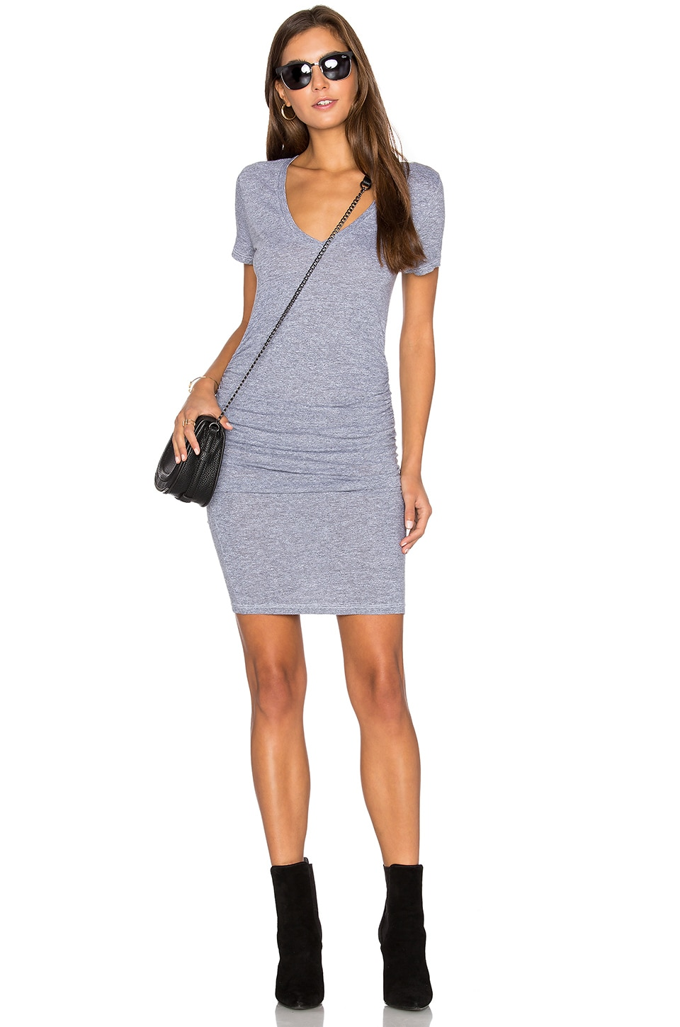 Lanston Ruched T Shirt Dress in Heather