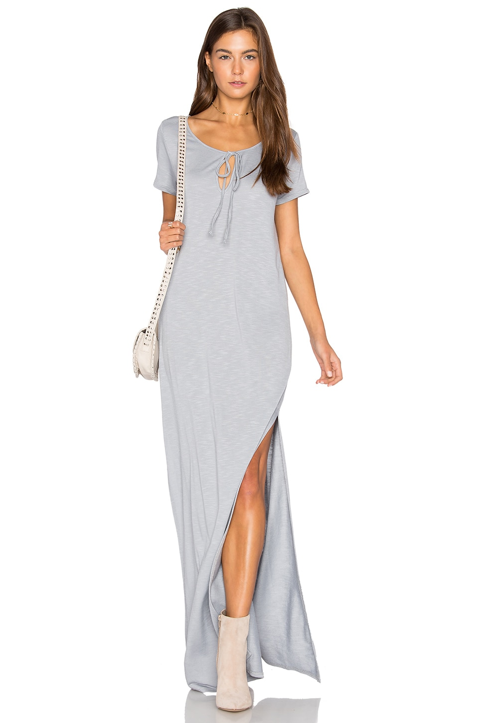 Lanston Caftan Shirt Maxi Dress in Oyster