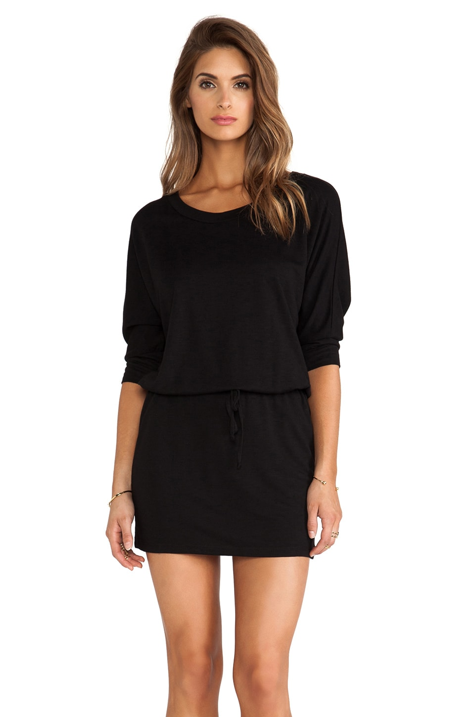 Lanston Boyfriend Mini Dress in Black