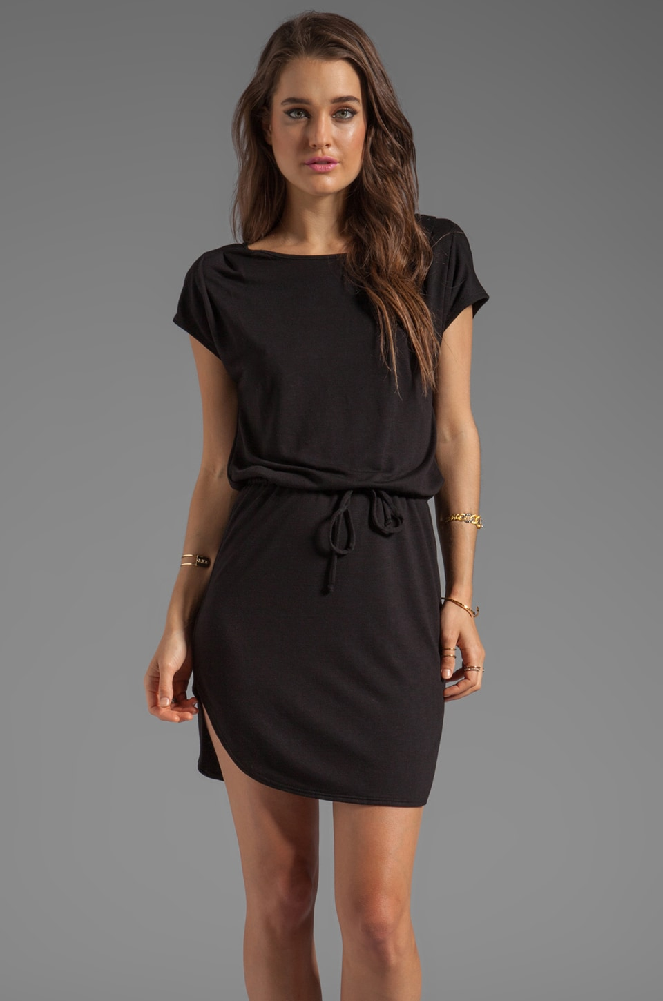 Lanston Open V Back Dress in Black