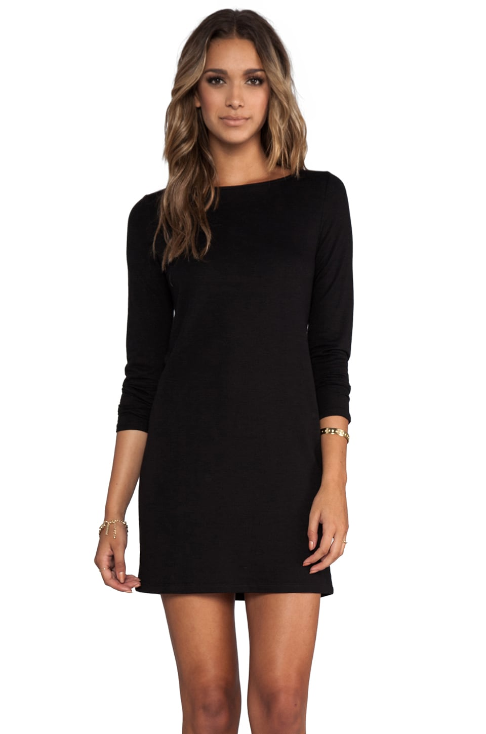 Lanston V Back Sheath Dress in Black