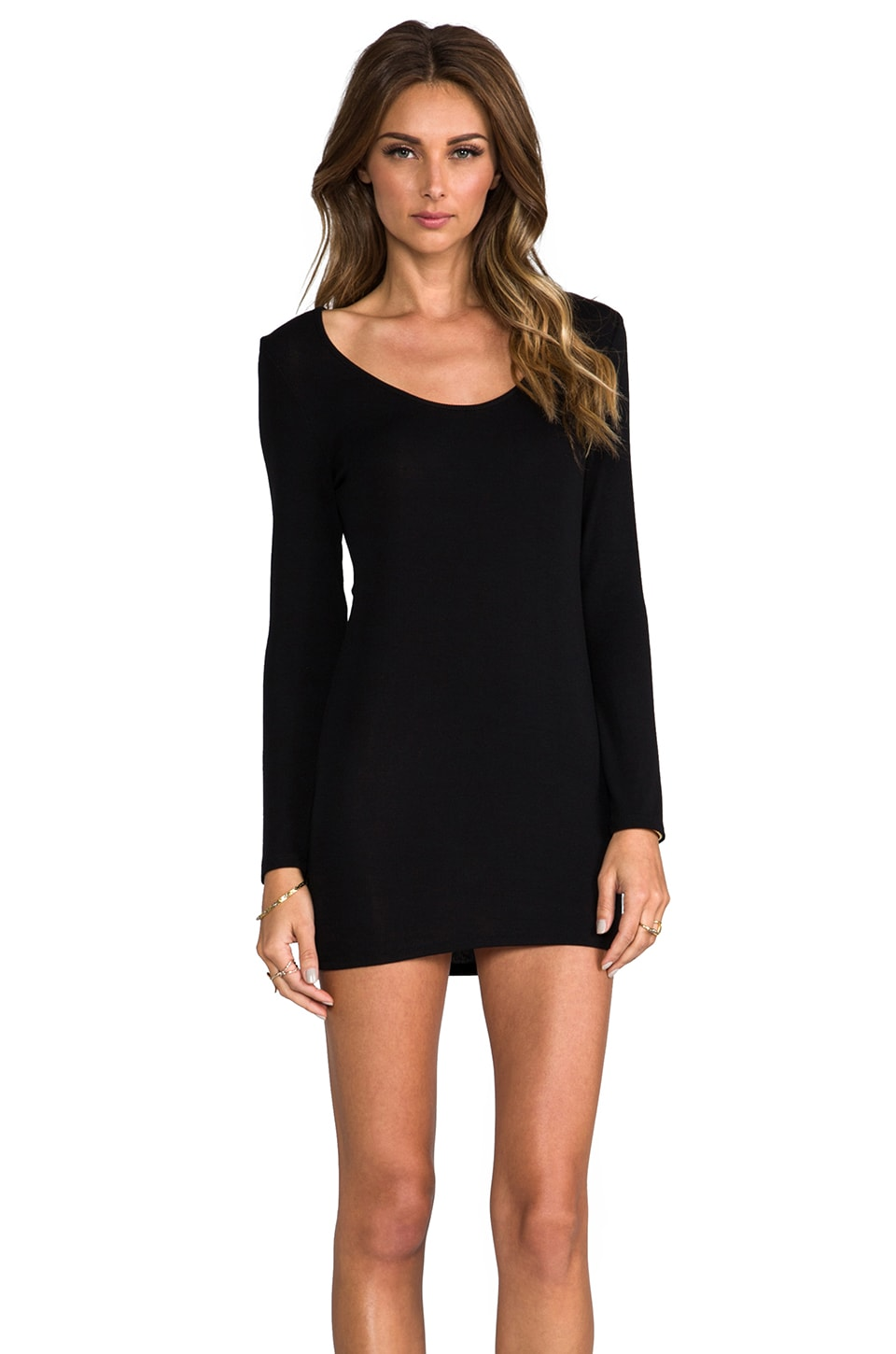 Lanston Long Sleeve Scoop Tunic in Black