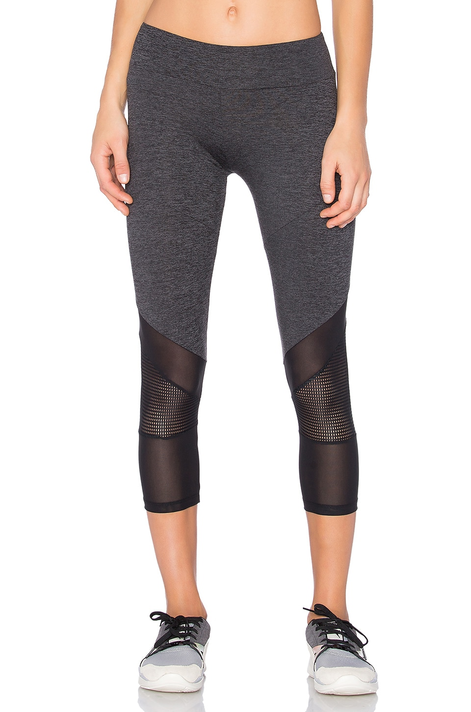 Lanston SPORT Mesh Combo Crop Leggings in Grey
