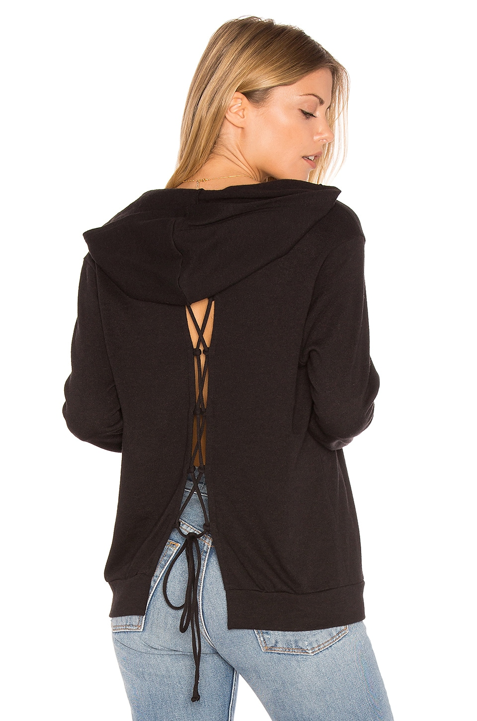 Lanston Lace-Up Back Hoodie in Black