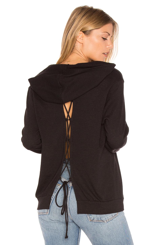 Lanston Lace-Up Back Hoodie in Black