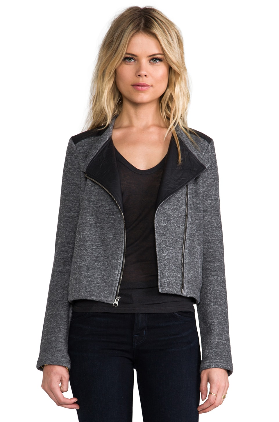 Lanston Moto Jacket w/ Leather Trim in Charcoal