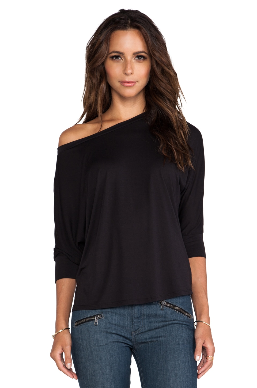 Lanston 3/4 Sleeve Boyfriend Sweatshirt in Black