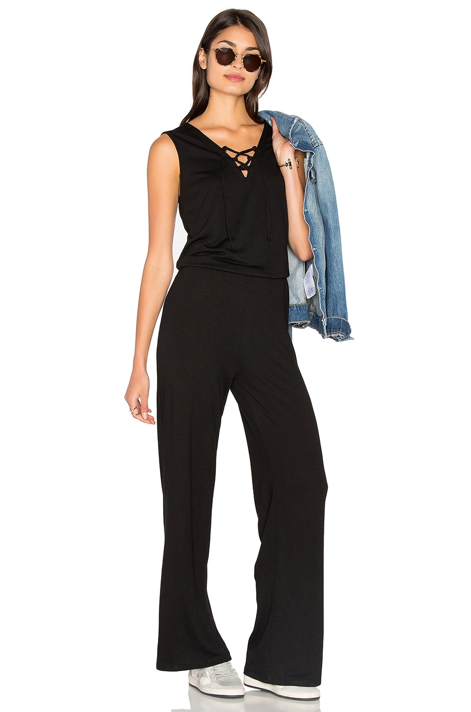 Lanston Lace Up Jumpsuit in Black