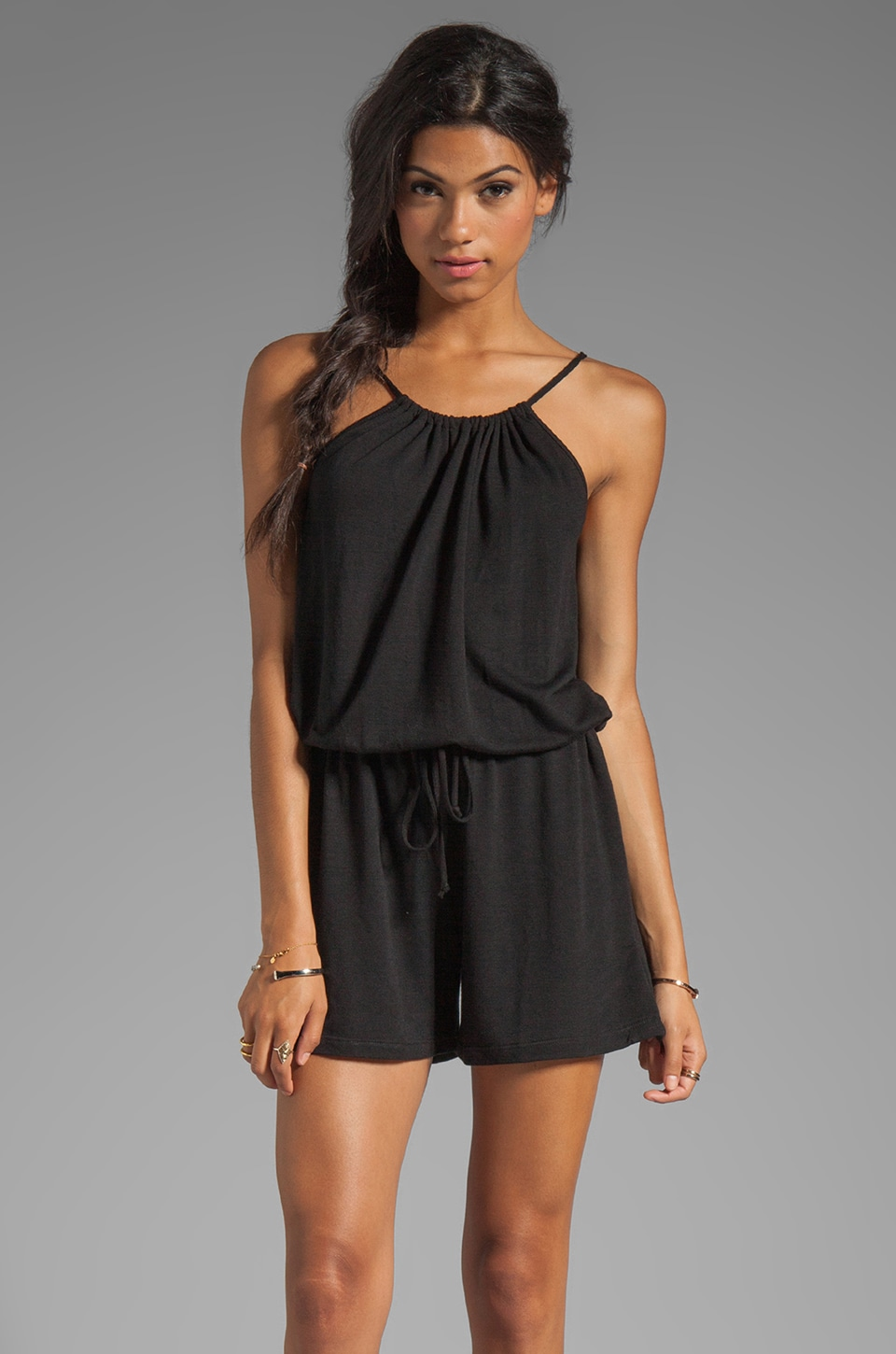 Lanston Halter Romper in Black