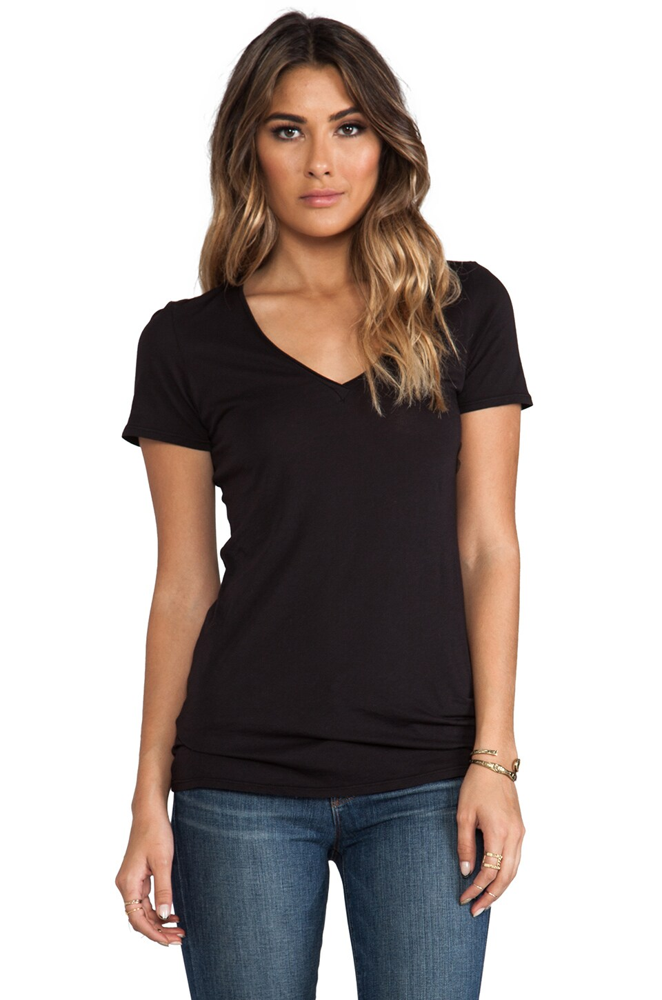 Lanston V Neck Tee in Black