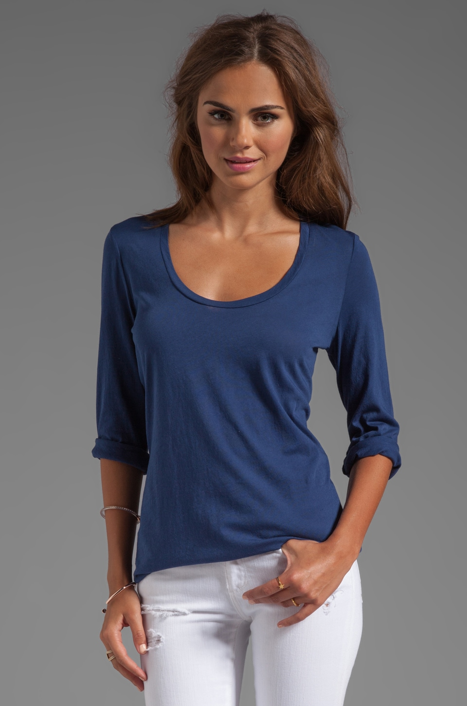 Lanston Scoop 3/4 Sleeve Tee in Night