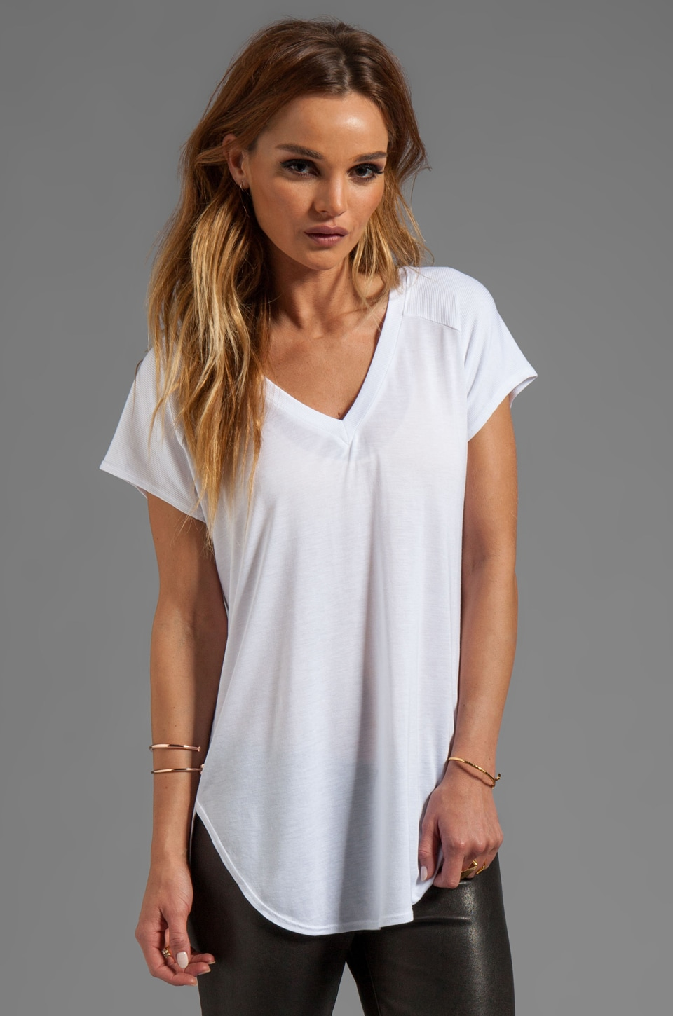 Lanston Fine Gauge Jersey V Tunic in White