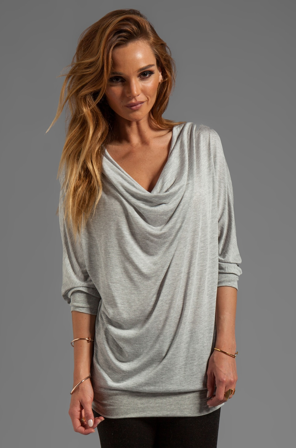 Lanston Fine Gauge Drape Tunic in Heather