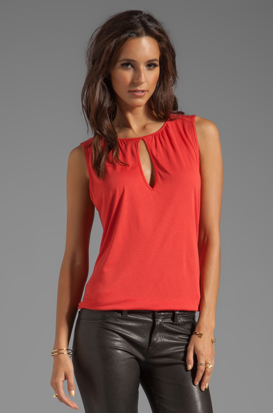 Lanston Keyhole Tunic Tank in Spice