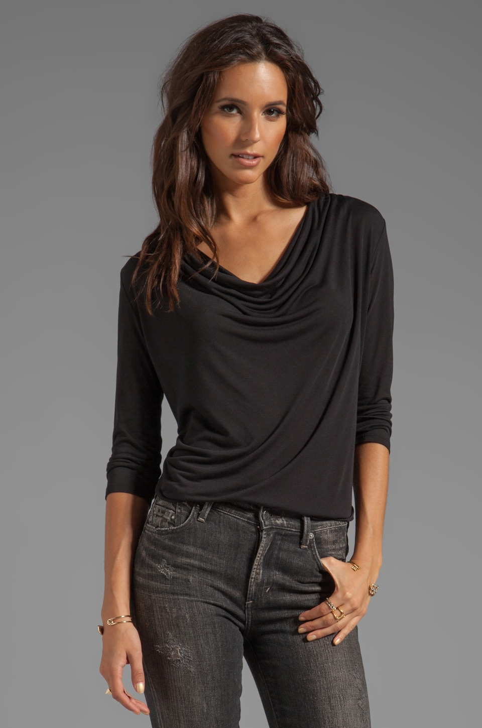 Lanston 3/4 Sleeve Drape Tee in Black