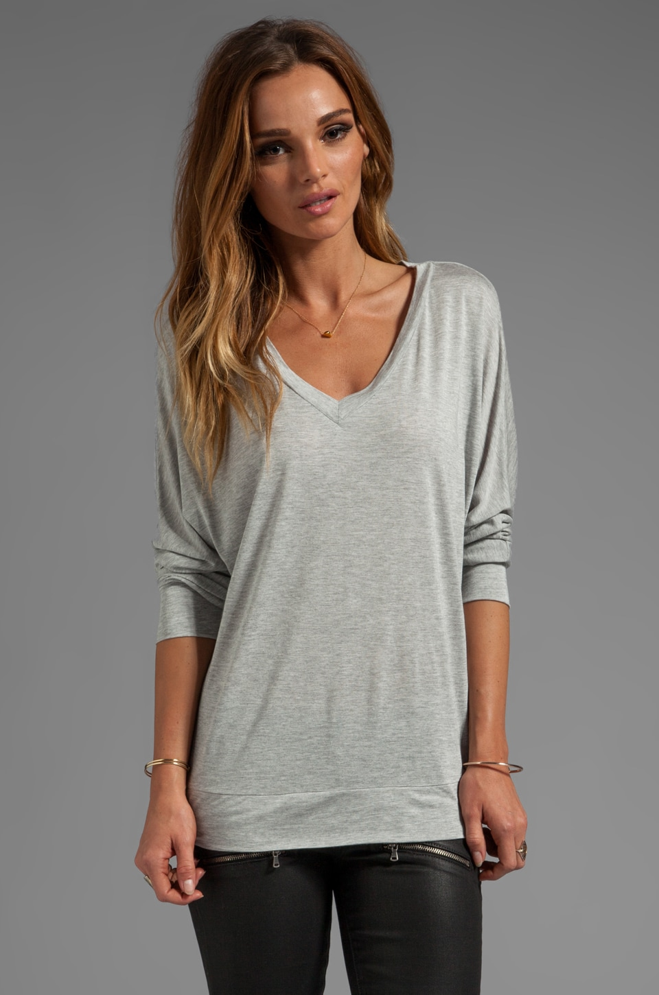Lanston Long Sleeve V Neck Top in Heather