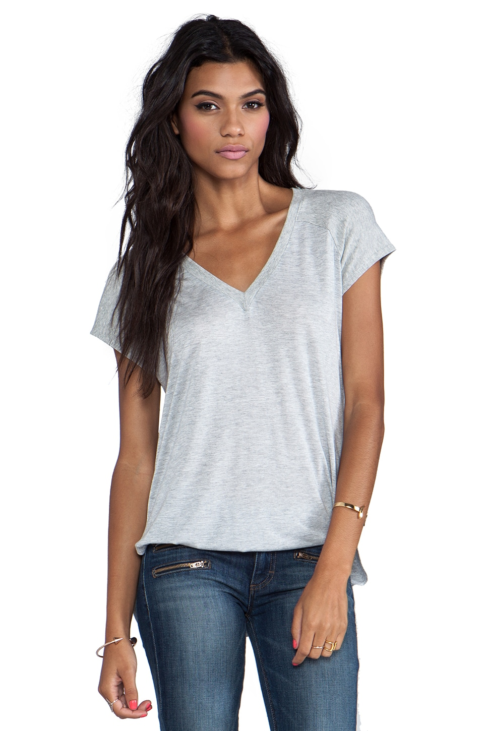 Lanston V Neck Tunic in Heather