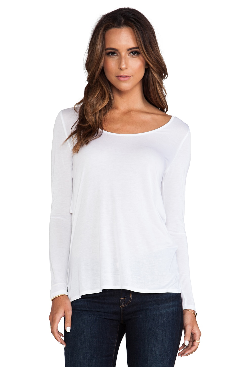 Lanston Layered Cutout Long Sleeve Tee in White