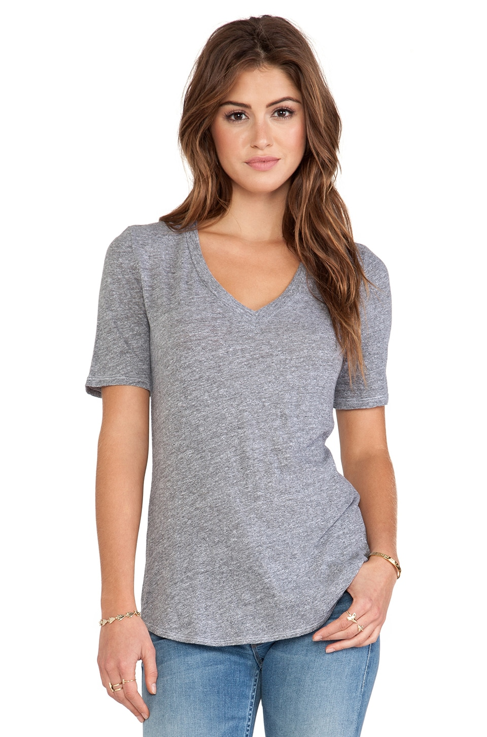 Lanston V Neck Tee in Heather