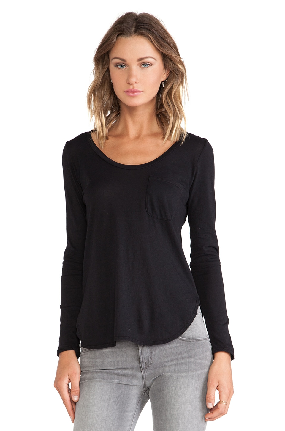 Lanston Pocket Long Sleeve Tunic in Black